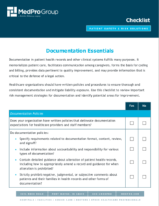 Front page of the Documentation Essentials Checklist